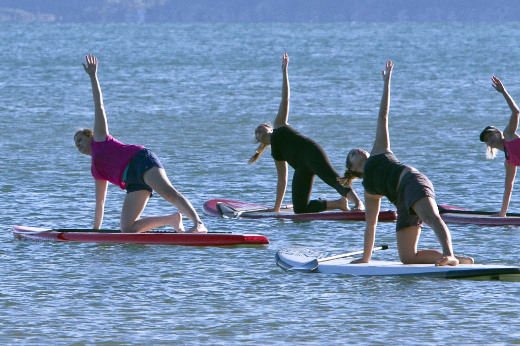 Stand Up Paddle Yoga is so much fun and we are all loving it