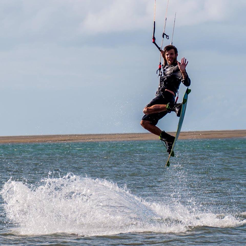 Dan having fun kiteboarding in Hervery Bay